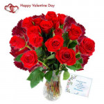 Missing You - 10 Red Roses & 10 Carnations in Vase + Card