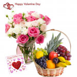 Treat for Love - 15 Pink & White Roses in Vase, 4 kg Mix Fruits Basket and Card