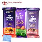 Silk Hamper - Cadbury Dairy Milk Silk Fruit & Nut, Cadbury Dairy Milk Silk Chocolate, Cadbury Dairy Milk Silk Roast Almond and Card