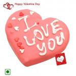 Endearing Gift - Lovely Strawberry Heart Cake (Eggless) 1 Kg + Card