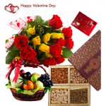 Love Combo Treat - 12 Red & Yellow Roses Bouquet, 2 Kg Mix Fruits in Basket, 200 gms Assorted Dryfruits and Card
