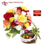 Lovable Fruit Combo - 12 Mix Roses Bouquet, 2 Kg Mix Fruits in Basket and Card