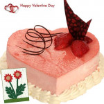Best Regards - Strawberry Heart Cake 1 Kg + Card