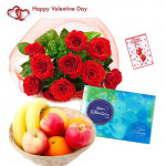 Fruity Chocolaty Love - 12 Red Roses Bouquet, Celebrations 160 gms, 1 kg Fruits in Basket and Card