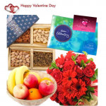 Fruitful Combo Treat - 10 Red Mix Flowers Bouquet, 200 gms Assorted Dryfruits, Celebrations 160 gms, 1 Kg Seasonal Fruits Basket and Card