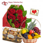 Lovely Fruits n Ferrero - 15 Red Roses Bouquet, Ferrero Rocher 16 pcs, 2 Kg Fruits in Basket and Card
