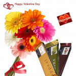 Bunch Of Love - 10 Gerberas Bouquet + 3 Temptation + Card