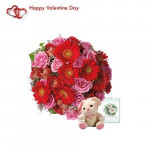 "Cute Bouquet - 15 Pink Roses & 15 Red Gerberas Bouquet + Teddy 6"" + Card"