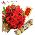 Exotic Combination - 12 Red Roses & 6 Gerberas in Basket + Ferrero Rocher 4 pcs + Card