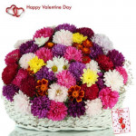 Exotic Love - 25 Roses & Gerberas Basket + Card
