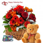 "Floral Feelings - 6 Red Gerberas & 6 Red Roses + 6 Carnations Basket + Teddy 6"" + Card"