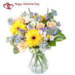 Fragrance of Love - 30 Assorted Flowers in Vase + Card