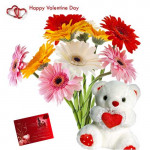 "Mixed Gerberas - 12 Gerberas Bouquet + Teddy 6"" + Card"