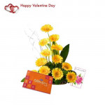 Pleasant Feelings - 12 Yellow Gerberas + Cadbury Celebration + Card
