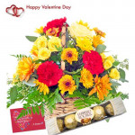 Special Basket - 6 Yellow Roses & 6 Gerberas in Basket + Ferraro Rocher 4 pcs + Card
