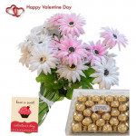 Sweet Feelings - 24 Pink & White Gerberas Bunch + Ferraro Rocher 24 pcs + Card