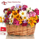 Touch Of Love - 40 Assorted Flowers Basket + Card