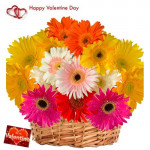 Treasure Of Love - 15 Mix Gerberas Basket + Card