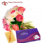 Valley of Love - 12 Pink & White Gerberas Bouquet + Cadbury Celebrations + Card