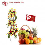 Loving Fruit Combo - 30 Yellow Gerberas + 40 Red Carnations Life Size Arrangement, 5 kg Mix Fruits in Basket and Card
