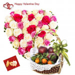Heart for Heart - Heart Shaped Arrangement of 30 Roses, 2 Kg Mix Fruits in Basket and Card