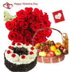 More Sweet for You - 20 Red Roses Bouquet, Black Forest Cake 1/2 Kg, 2 Kg Fruits in Basket and Card