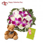 """Cute as You - 6 Purple Orchids & 12 White Roses + Teddy 6"""" + Card"""