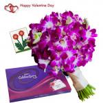 Gentle Love - 6 Purple Orchids + Cadbury Celebration + Card