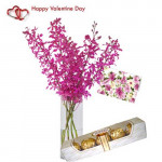 Lovely Moments - 6 Purple Orchids in Vase + Ferrero Rocher 4 pcs + Card