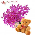 """Simply Beautiful - 12 Purple Orchids + Teddy 6"""" + Card"""