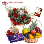 Perfectly Lovable - 12 Red Roses Bouquet, 3 Kg Fruits in Basket, 2 Dairy Milk 20 gms Each and Card