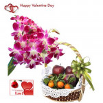 Royal lovefilled Treat - 6 Purple Orchids Bouquet, 2 Kg Mix Fruits in Baket and Card