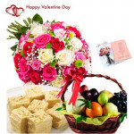 Sweets & Fruits for Love - 20 Mix Roses Bouquet, 2 Kg Mix Fruits in Basket, Haldiram Soan Papdi 250 gms and Card
