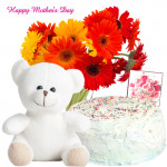 "Vanila Treat - 24 Red and Yellow Gerberas, 1/2 Kg Vanila Cake, 6"" Teddy and Card"