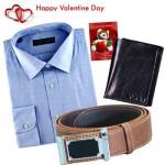 Mega Hamper - Mens Formal Shirt + Leather Wallet + Leather Belt + Card