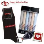 Just For Him - Socks Pair + 6 Hankies Set + Key Chain + Card