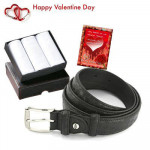 Combo For Him - 3 Hankies Set + Leather Belt + Card