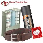 Mens Hamper - Axe Deo + Leather Belt + 3 Hankies Set + Card