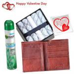 Trendy Gift For Him - 6 Henkies Set + Garnier Deo + Leather Wallet + Card
