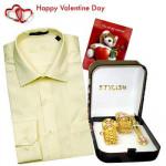 Smart Mens Hamper - Mens Formal Shirt + Pink Golden Cufflink Set + Card