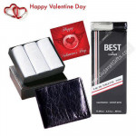 Perfect Men Hamper - 3 Hankies Set + Lomani Perfume + Leather Wallet + Card