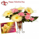 Mixed Arrangement - 10 Artificial Mixed Flowers Vase + Valentine Greeting Card