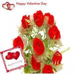 Artificial Red Roses - 12 Artificial Red Roses Bouquet + Valentine Greeting Card