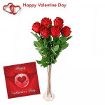 Lovely Red Roses - 6 Artificial Red Roses Stems + Valentine Greeting Card