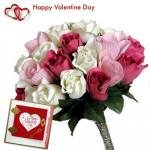 Artificial Mix Roses - 20 Artificial Mix Roses + Valentine Greeting Card