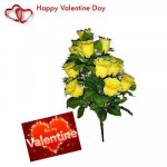 Yellow Roses - 10 Artificial Yellow Roses + Valentine Greeting Card