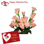Pink Roses - 12 Artificial Pink Roses + Valentine Greeting Card