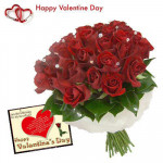 Red Bunch - 25 Artificial Red Roses Bunch + Valentine Greeting Card