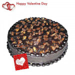 Valentine Chocolate Truffle - Chocolate Truffle Cake 1 kg + Valentine Greeting Card