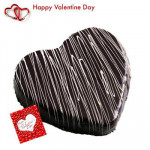 Chocolaty Heart - Chocolate Heart Shaped Cake 2 kg + Valentine Greeting Card
